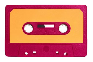 magnetic tape cassette isolated over white