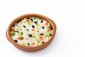 Rice, black beans and peppers