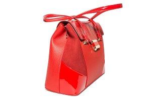 ladies ' leather handbag red color