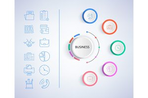 Business Infographic and Icons Vector Illustration
