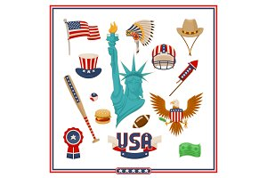 USA Country Symbols Isolated Illustr