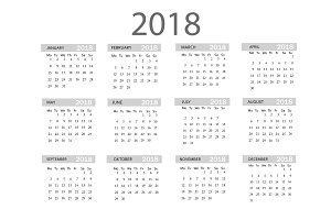 2018 year calendar. Vector template . Graphic line simple style.