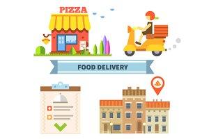 Food delivery. Сafe, restaurant, piz