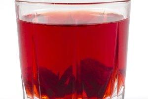 Glass of strawberry stewed fruit