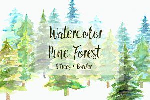 Watercolor Pine Trees Clip Art Set