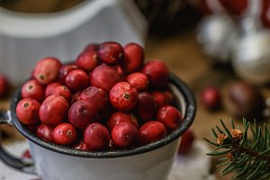 Cranberries in tin cup