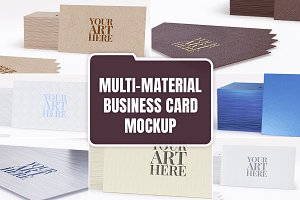 Multi-material Business card Mockup