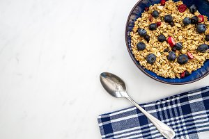 Blueberries breakfast cereal bowl