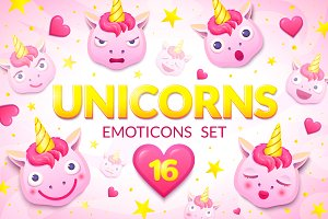 Unicorns emoticons
