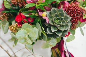 Rustic wedding bouquet with succulents and crimson flowers on the snow next to the tree. Outdoors. Artwork