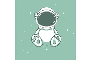 Cute astronaut bear