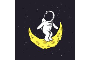 Spaceman stands on crescent Moon