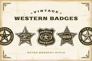 Vintage Western Badges Set