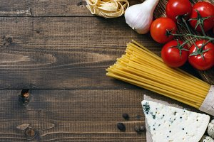 Italian food on vintage wooden