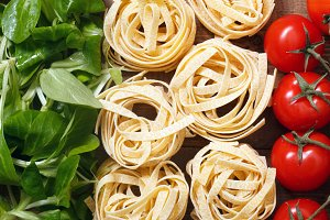 Flag of Italy with classic food