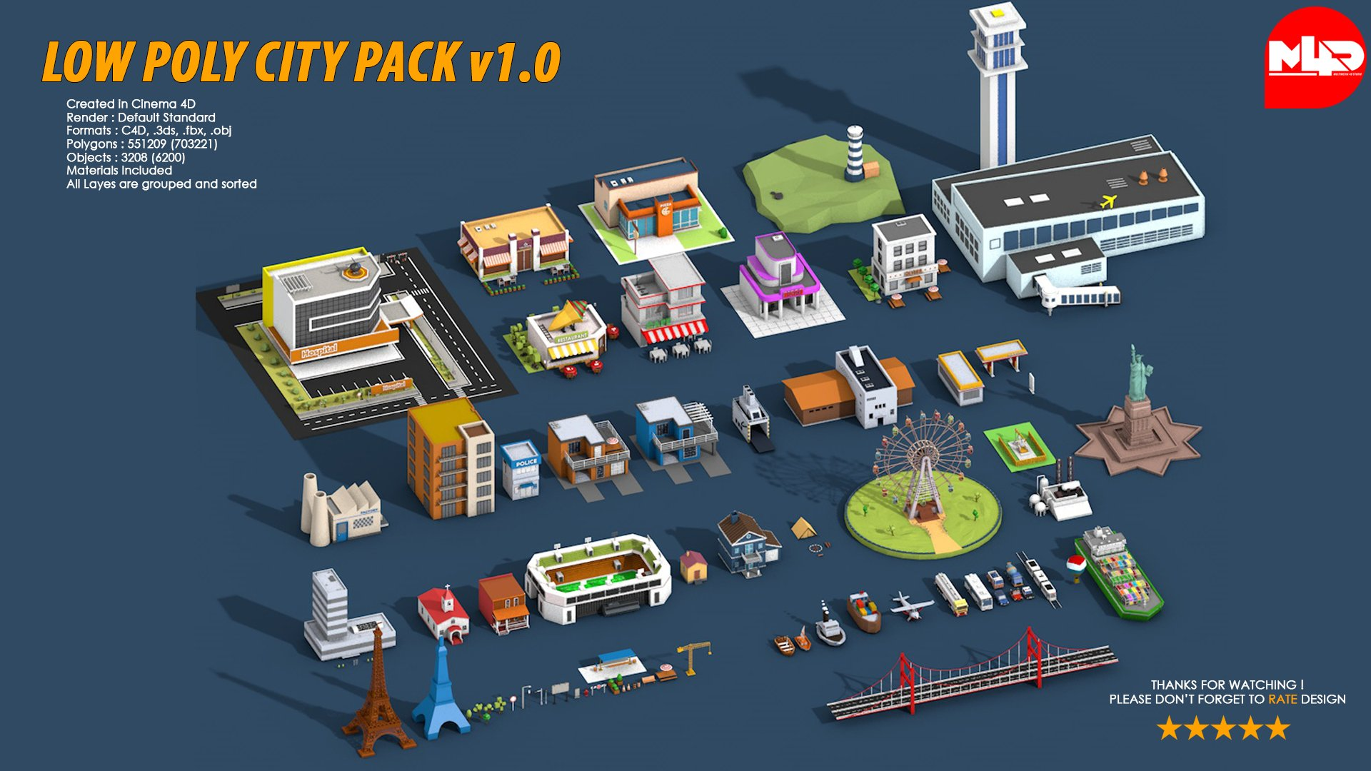 low poly city pack 1 architecture models creative market. Black Bedroom Furniture Sets. Home Design Ideas