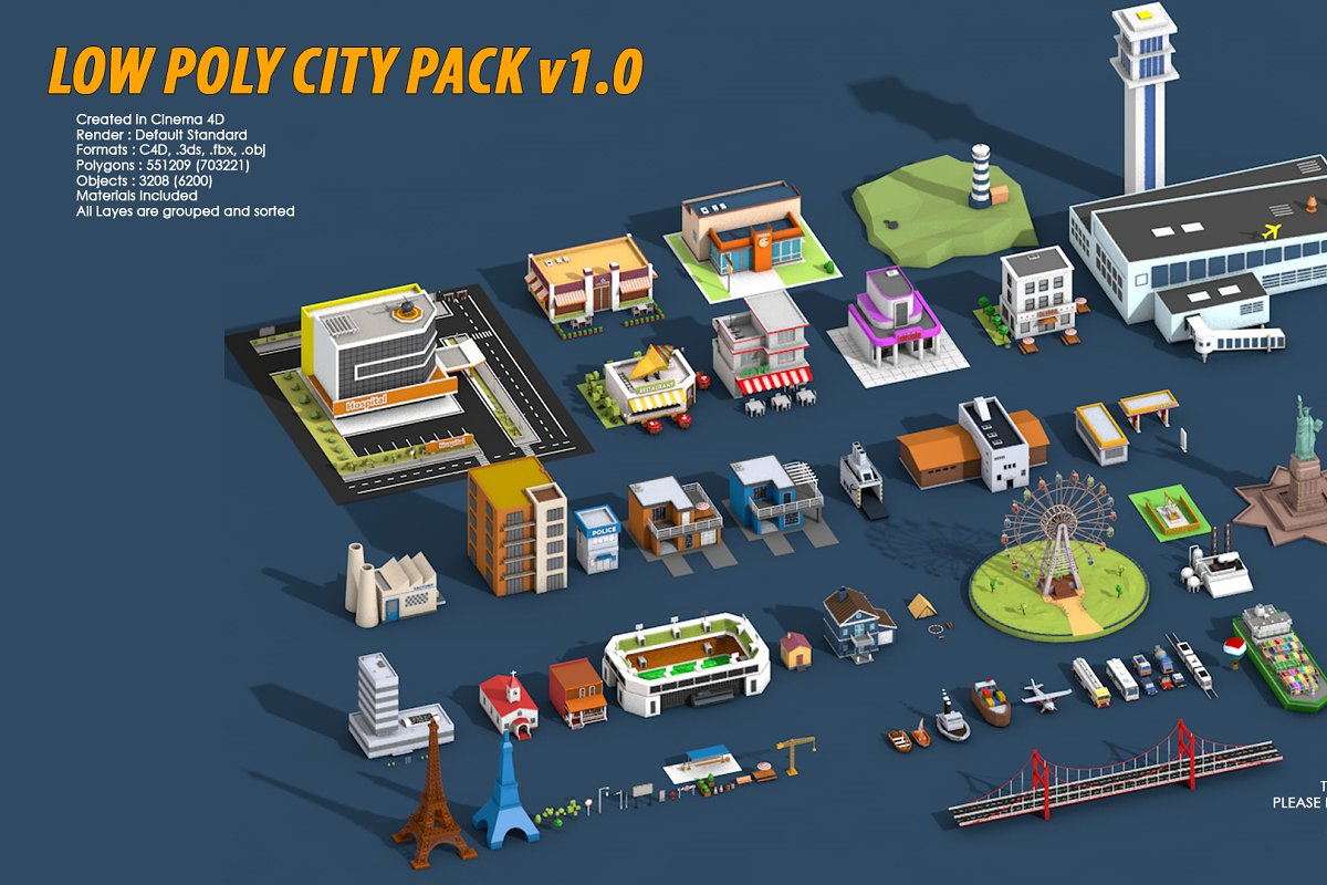 Low Poly City Pack 1 ~ Architecture Models ~ Creative Market