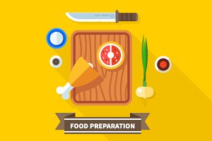 Food preparation. Knife, meat,onions