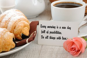 Breakfast with motivational quote