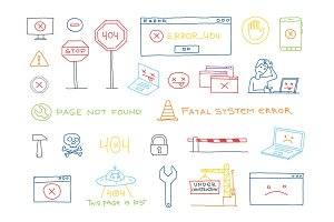 Hand drawn set 404 system error page not found vector sketch