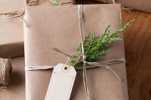 brown paper wrapped parcels