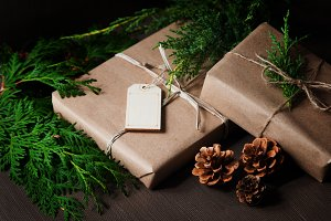 brown paper packages with greenery