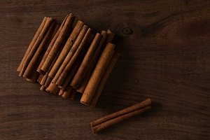 Cinnamon Sticks on a Wooden Table
