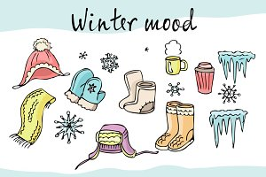 Winter mood vector set