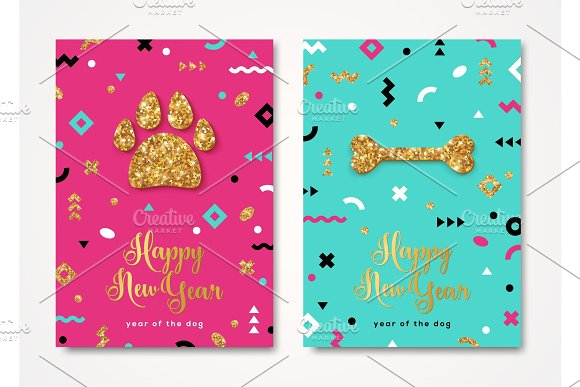 2018 new year cards with dog paw print and bone illustrations