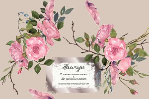 Watercolor Dusty Pink Roses