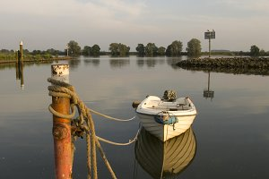 Moored boat in the river Merwede