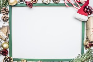 Christmas composition in a frame