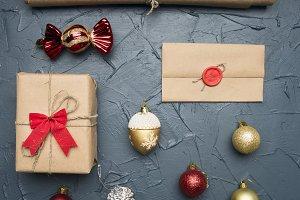 Christmas flat lay gift