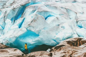 Man hiking at Nigardsbreen glacier