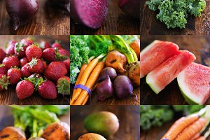 collage of fruits and veggies