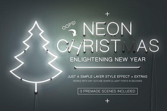 neon christmas layer style graphics