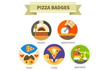 Pizza badges:Delivery food.