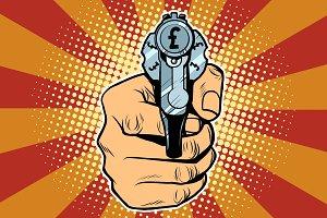 pound currency money Finance revolver in hand
