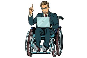businessman in wheelchair isolated on white background