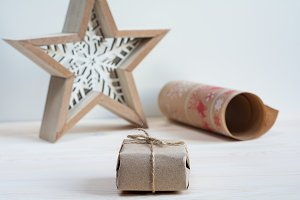 Scandy gift wrapped in craft paper