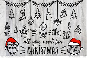 154 Christmas photo overlays, vector