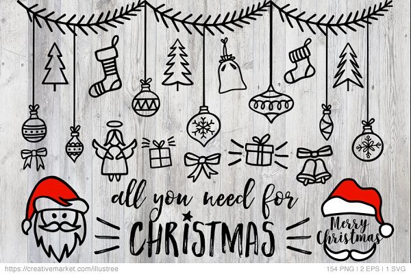 154 Christmas photo overlays, vecto…