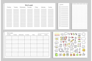 Work Week Set of Papers on Vector Illustration