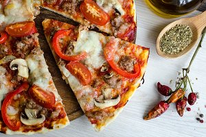 Hot meat italian pizza