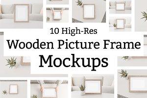 10 Wooden Picture Frame Mockups