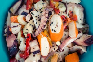 Fresh salad with seafood and vegetables
