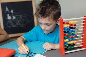 Focused schoolboy doing homework