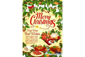 Christmas and New Year holidays dinner poster