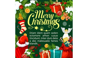 Christmas Santa gifts vector greeting card