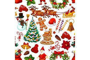 Christmas seamless pattern of vector decorations